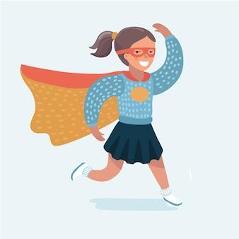 Ragazza coraggiosa in costume da supereroe con una maschera sul viso