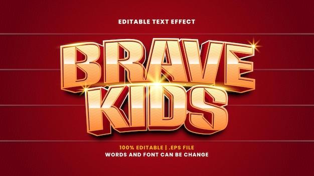 Effetto di testo modificabile per bambini coraggiosi in moderno stile 3d