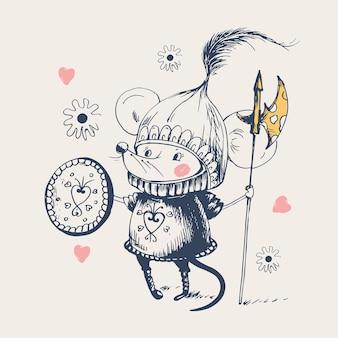 Topo cavaliere coraggiosol'illustrazione vettoriale disegnata a mano può essere utilizzata per il design di magliette per bambini o neonati