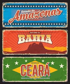 Brasile amazonas, bahia e ceara dichiara targhe metalliche