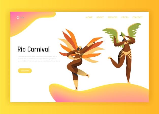 Pagina di destinazione della donna del bikini latino di carnevale del brasile.