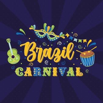 Carnevale brasiliano con maschera e chitarra con tamburo