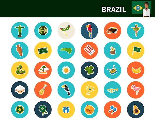 Icone piane di concetto del brasile