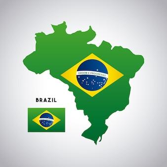 Mappa del paese brasile