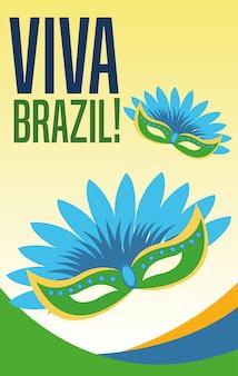 Manifesto del tema cultura e turismo del brasile con maschere di carnevale