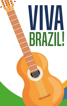 Manifesto di tema di cultura e turismo brasile con una chitarra