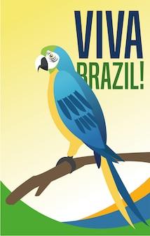 Manifesto del tema cultura e turismo del brasile con un pappagallo