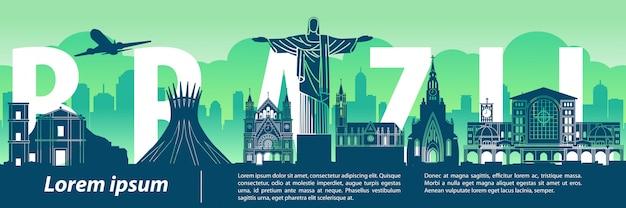 Brasile famoso punto di riferimento in stile silhouette