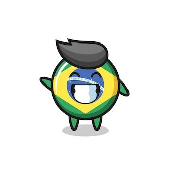 Personaggio dei cartoni animati del distintivo della bandiera del brasile che fa il gesto della mano dell'onda, design in stile carino per maglietta, adesivo, elemento logo