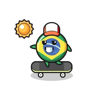 L'illustrazione del personaggio del distintivo della bandiera del brasile guida uno skateboard, design in stile carino per maglietta, adesivo, elemento logo