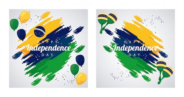 Celebrazione felice del giorno dell'indipendenza del brasile con la bandiera in elio di palloncini