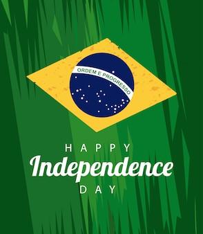 Celebrazione felice del giorno dell'indipendenza del brasile con testo e bandiera