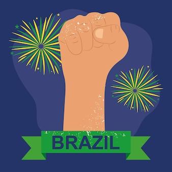 Illustrazione del brasile con il pugno alzato
