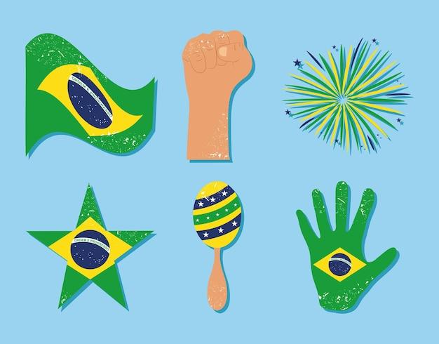 Insieme dell'icona del giorno dell'indipendenza del brasile