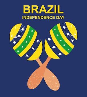Illustrazione del giorno dell'indipendenza del brasile con maracas