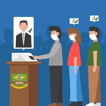 Coda di voto del popolo brasiliano con maschera facciale