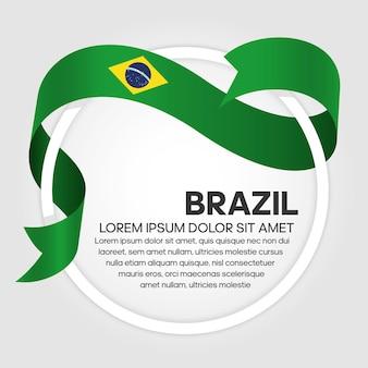 Bandiera del nastro del brasile, illustrazione vettoriale su sfondo bianco
