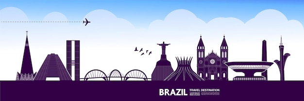 Illustrazione vettoriale di destinazione di viaggio brasile.