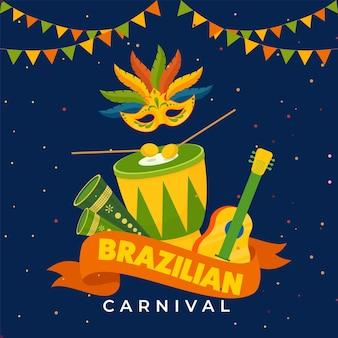 Concetto di carnevale brasiliano con maschera di partito di piume