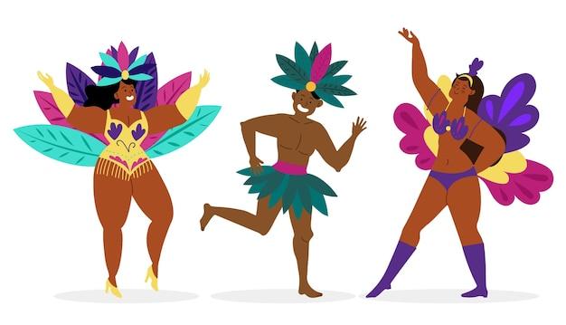 Collezione di ballerini di carnevale brasiliano Vettore Premium