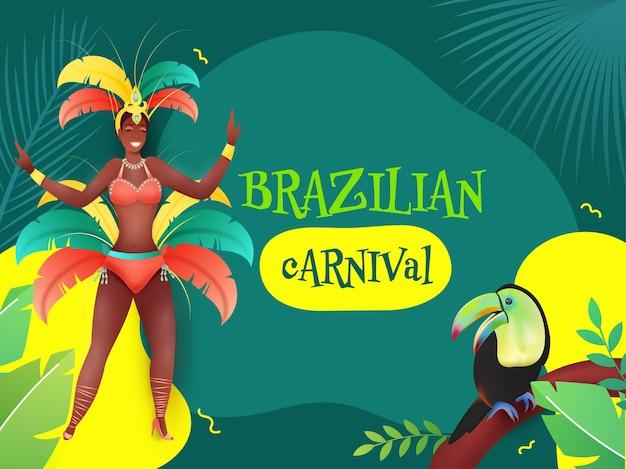 Poster design carnevale brasiliano con ballerina di samba femminile