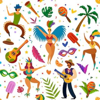 Modello senza cuciture di carnevale brasiliano. ballerini e maracas, palma, maschere e piume, struttura di vettore della carta da parati del festival di ballo latino. modello senza cuciture carta da parati latino masquerade, festa brasiliana