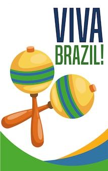Manifesto del tema della cultura e del turismo brasiliano con maracas