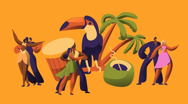 Carattere latino del ballerino di carnevale di samba brasiliano.