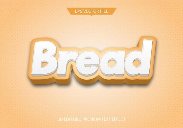 Effetto di testo modificabile 3d di pane