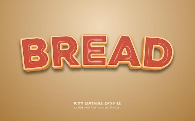 Effetto stile di testo modificabile pane 3d