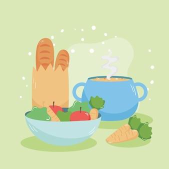 Sacchetto di pane e zuppa