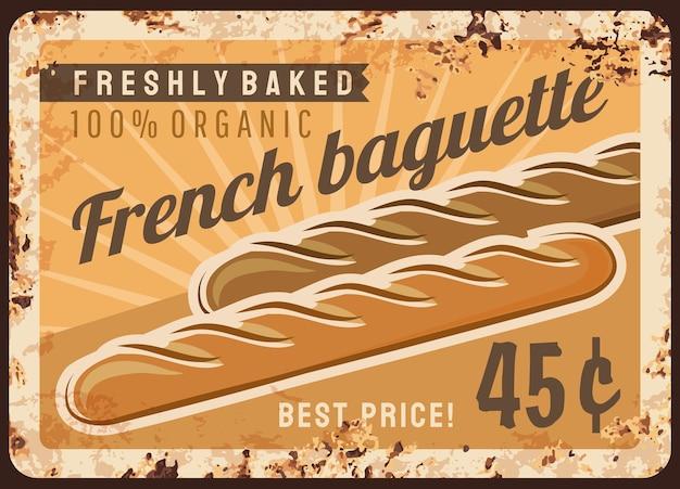 Pane baguette metallo piatto arrugginito e menu di panetteria
