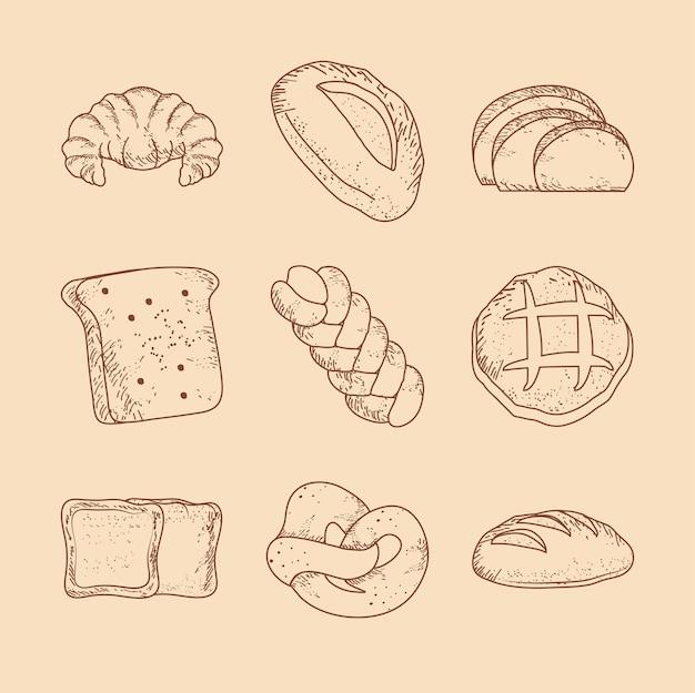 Set di schizzi di cibo al forno con pane