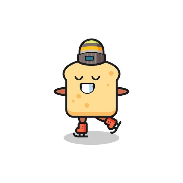 Cartone animato di pane come un giocatore di pattinaggio sul ghiaccio che si esibisce, design in stile carino per maglietta, adesivo, elemento logo