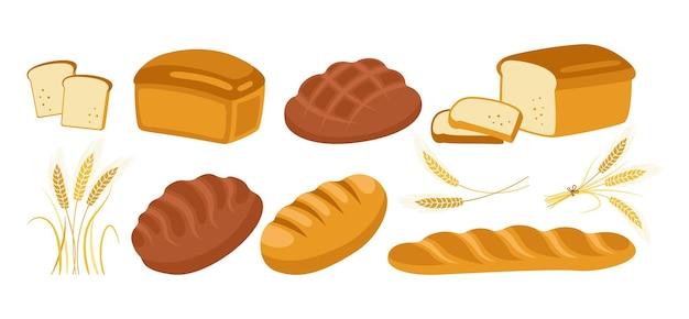 Insieme dell'icona del fumetto di pane. prodotti da forno pagnotta di pane e spighe di grano e baguette francese, pretzel, croissant, ciabatta baguette francese