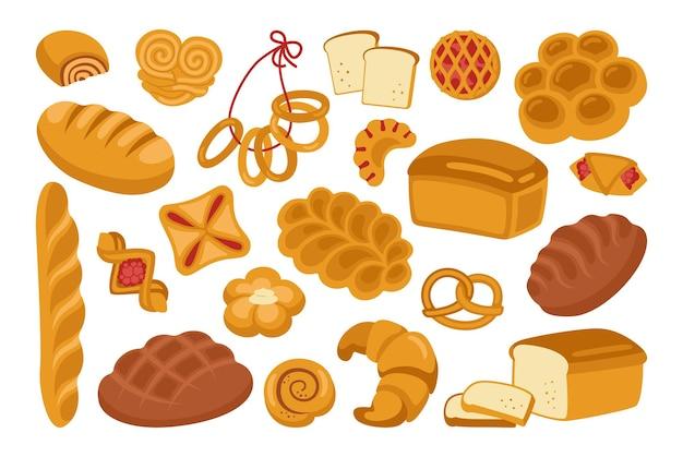 Insieme dell'icona del fumetto del pane segale, pane integrale e pagnotta di grano, pretzel, focaccina, croissant