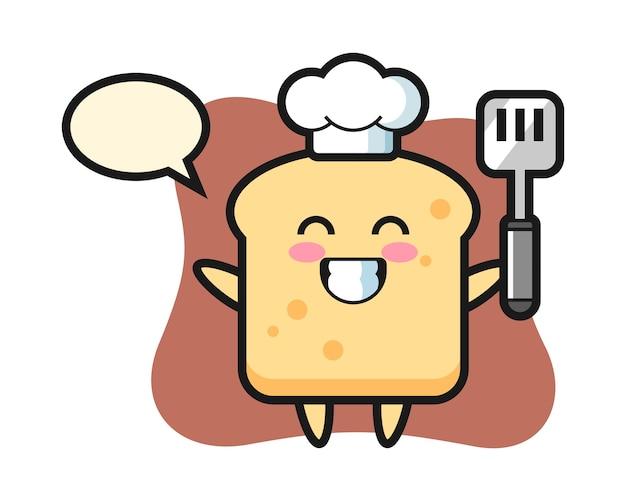 Il carattere del pane come chef sta cucinando