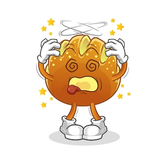 La mascotte della testa vertiginosa del pane. cartone animato