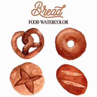 Illustrazione dell'acquerello di pane cibo
