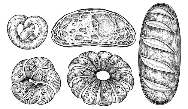 Insieme decorativo di schizzo disegnato a mano del pane