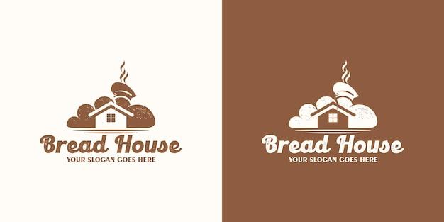 Logo della casa del pane, logo della panetteria, logo della torta, riferimento per il business