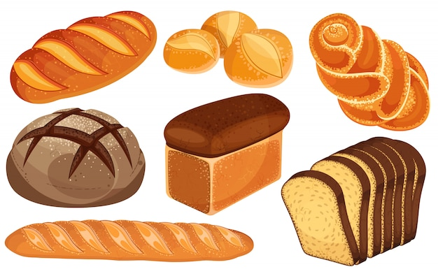 Set di icone di pane. pagnotta lunga, pane di segale, baguette, panini, pane bianco, pane a fette, brioche.