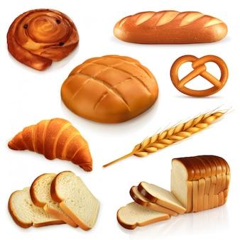 Pane, set di icone Vettore Premium