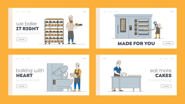 Insieme di modelli di pagina di destinazione di produzione di macchine per il pane