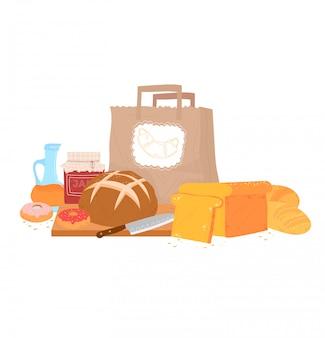 Prodotto alimentare della pasticceria del pane, pagnotta di farina e pasto della ciambella isolati su bianco