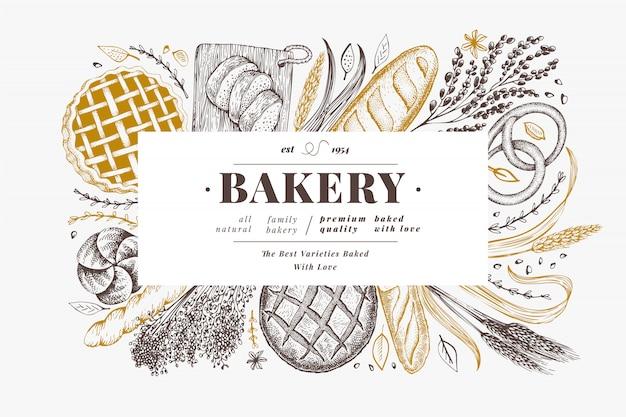 Modello di pane e pasticceria