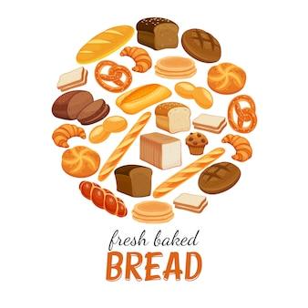 Manifesto rotondo di prodotti di pane