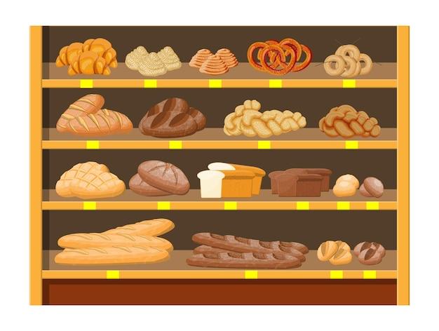Prodotti del pane nell'interno del supermercato del centro commerciale. pane integrale, grano e segale, pane tostato, pretzel, ciabatta, croissant, bagel, baguette francese, panino alla cannella.