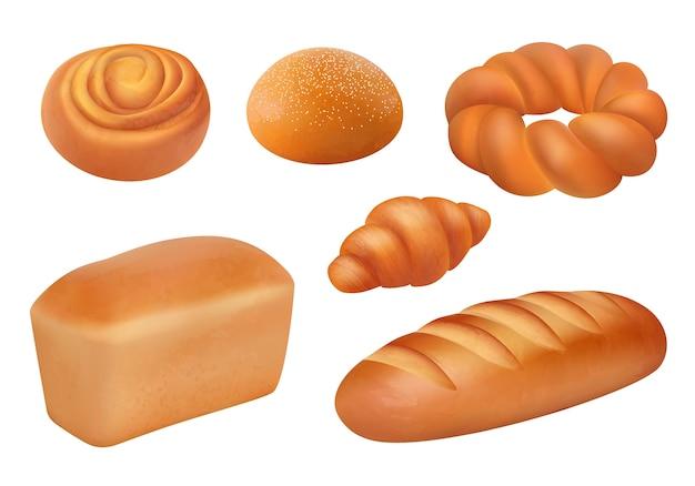 Pane realistico. panetteria cibo fresco prodotti degustazione pane francese baguette panini colazione foto. illustrazione della raccolta dell'alimento del pane del forno, pagnotta realistica
