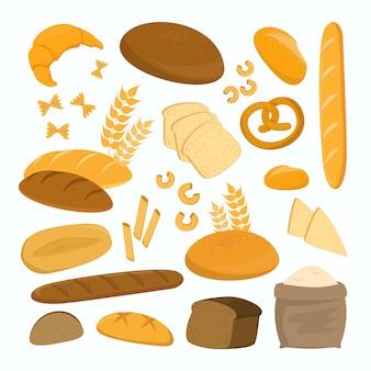 Set di pane isolato. collezione di prodotti da forno